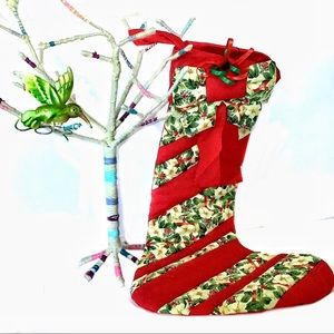 """23"""" Christmas Stocking Handmade Quilted Red Green"""